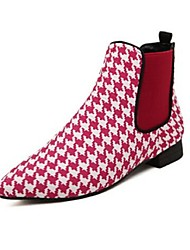 Women's Shoes Synthetic Winter Combat Boots Boots Casual Flat Heel Plaid Black / Red