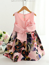 Girl's Fashion Simplicity  Cotton Blend   Fall/Spring Flowers Splice Printing Jumper Skirt Princess Dress