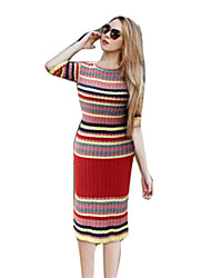 Women's Striped Red / Green Dress(cotton)