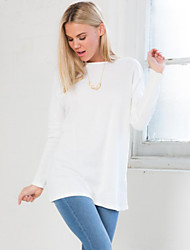 Women's Round Neck Solid color Backless T-shirt ,