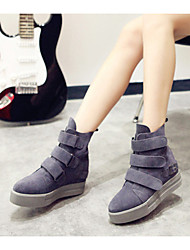 Zapatos de mujer - Plataforma - Plataforma - Botas - Casual - Cuero Patentado - Negro / Gris