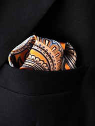 Men's Pocket Square Paisley Orange 100% Silk Business Wedding