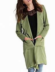Women's Solid Green Trench Coat , Casual / Work Long Sleeve Chiffon