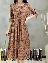 De las mujeres Vestido Vintage / Casual Floral Midi Escote Redondo Lino