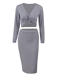 Women Two-piece Dress Crossing Deep V Neck Crop Tops Bodycon Midi Pencil Skirt Party Clubwear