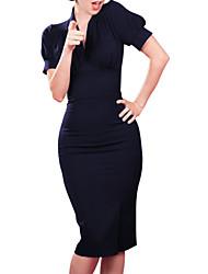 Damen Kleid  -  Gerüscht Knielang Polyester Kurzarm V-Ausschnitt