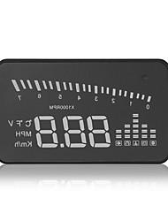 x5 hud universal cabeça-up display km / h mph detector carro de projeto pára-brisa aviso combustível acelerando interface do obdii