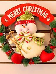 "30CM/12"" Christmas Rattan Hoop Christmas Decoration Hangings Christmas Wreath Snowman"