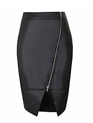 Women's Sexy Bodycon Casual Party Work Midi Solid Black Skirts