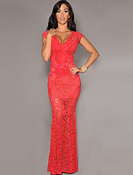 Women's Lace Red Dresses , Sexy / Party V-Neck Sleeveless