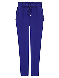 Women's Solid Blue / Black Harem Pants , Casual / Plus Sizes
