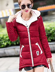 Women's New Style Solid Zipper Down Coat , Casual / Work / Plus Sizes Hooded Long Sleeve