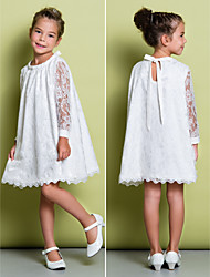 A-line Knee-length Flower Girl Dress - Lace Long Sleeve