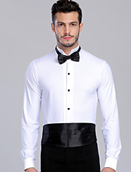 Ballroom Dance Tops Men's Performance Spandex Bow(s) / Buttons 2 Pieces Black / Red / White