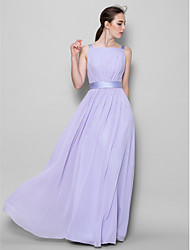 Lanting Bride® Floor-length Chiffon Bridesmaid Dress A-line Straps with