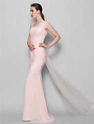 LAN TING BRIDE Floor-length Scoop Bridesmaid Dress - Elegant Sleeveless Chiffon Tulle