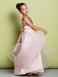 LAN TING BRIDE A-line Sweep / Brush Train Flower Girl Dress - Tulle Sequined Scoop with Flower(s) Sequins
