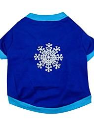 Katzen / Hunde T-shirt Blau Hundekleidung Frühling/Herbst Schneeflocke Weihnachten
