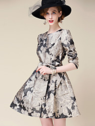 OuYa Women's Jacquard Multi-color Dresses , Casual / Print / Party Round ¾ Sleeve