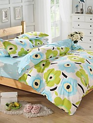 Mingjie® Blue and Green Cartoon Flowers Queen and Twin Size Sanding Bedding Sets 4pcs for Boys and Girls China