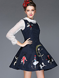 Plus Size Women Clothing Winter Fashion Embroidery Sequins Sleeveless Vintage Temperament Praty/Work/Casual Dress