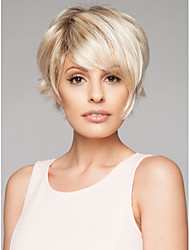 Capless Short High Quality Synthetic Mix Color Wine Straight Hair Wig