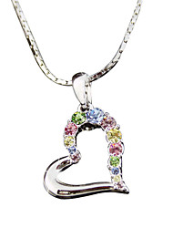 HKTC Bridal Jewelry 18k White Gold Plated Colourful Cubic Zirconia Crysatl Heart Pendant Necklace