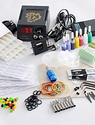Rotary Tattoo Machine Kit LED Power Supply 20 Needles 8 Steel Tips 7 Color Inks Gun Set HOT