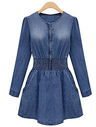 Women's Solid Blue Denim Dress (jeans)