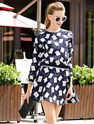 Square-block Threaded Round Neck Dress, Casual Round Neck Long Sleeve