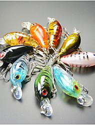 """9 pcs Poissons nageur/Leurre dur leurres de pêche Manivelle Multicolore 4 g/1/8 Once,45 mm/1-3/4"""" pouce,Plastique durPêche en mer Pêche"""