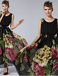 Women's Floral Multi-color Dresses , Casual Round Sleeveless