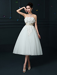 A-line Wedding Dress Tea-length Strapless Lace / Satin with Sash / Ribbon