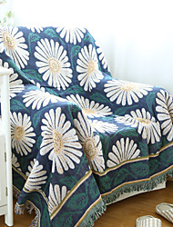 Couverture - 180*130 - en 100% Coton - Blanc / Bleu