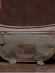 Unisex Canvas Sling Bag Shoulder Bag - Brown