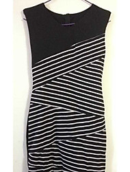 PVE  Women's Striped Multi-color Dresses , Sexy / Bodycon / Casual / Party / Work V-Neck Short Sleeve