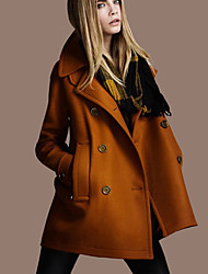 Winni Women's Solid Color Black / Brown / Orange Coats & Jackets , Casual Tailored Collar Long Sleeve