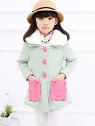 Girl's Green Jacket & Coat , Dresswear Polyester Winter / Spring / Fall