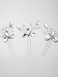 Mujer Diamantes Sintéticos Cristal Aleación Perla Artificial Celada-Boda Ocasión especial Pasador de Pelo 3 Piezas