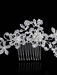 Europe And The United States The Bride Manual Headdress High-Grade  Pearl  Crystal Plate Bridal Comb