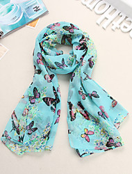 HOT Lady selling the  butterfly  print  velvet chiffon scarf shawl