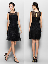 Lanting Knee-length Lace Bridesmaid Dress - Black A-line Scoop