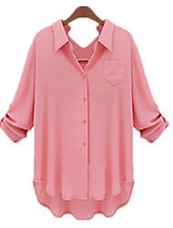 Camicia Da donna Increspato A V / Colletto Maniche a ¾ Misto cotone