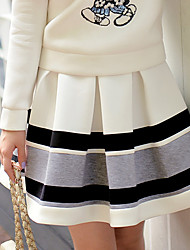 DABUWAWA Women's Casual Party OL High Rise Pleated Color Block Skirts