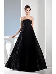 Formal Evening Dress - Black A-line Strapless Floor-length Satin