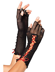 Women's Lace up Fishnet Fingerless Gloves