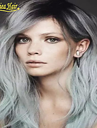 Hot Selling Full Lace Ombre Wigs Human Hair Wavy Brazilian Lace Front Wig For Women Ombre Wigs 1B Grey Human Hair Wig