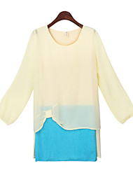Women's Solid Color Blue / Yellow Tops & Blouses , Casual Round Long Sleeve