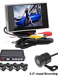 renepai® 3,5-Zoll-4-Sonde parkender Sensoren LCD-Display der Kamera Video-Auto-Rückunterstützungsradar-System-Kit Summeralarm 12v