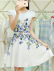 Women's Dress , Chiffon Knee-length Short Sleeve